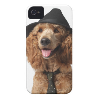 Golden Poodle Dog wearing Hat and Tie Case-Mate iPhone 4 Case