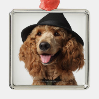 Golden Poodle Dog wearing Hat and Tie Christmas Ornament