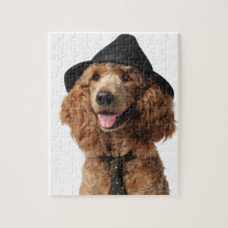 Golden Poodle Dog wearing Hat and Tie Jigsaw Puzzle