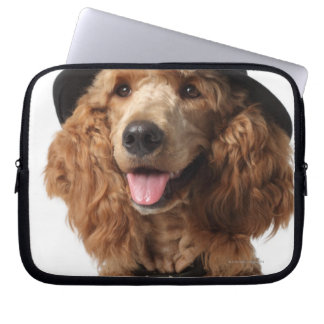 Golden Poodle Dog wearing Hat and Tie Laptop Sleeve