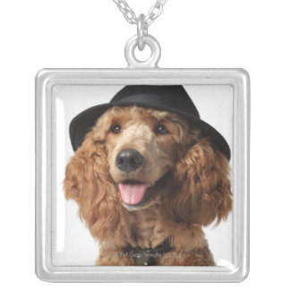 Golden Poodle Dog wearing Hat and Tie Silver Plated Necklace