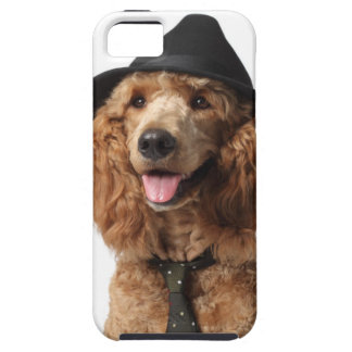 Golden Poodle Dog wearing Hat and Tie Tough iPhone 5 Case