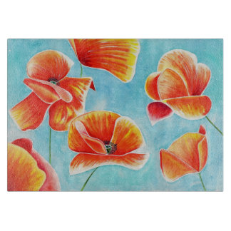 Golden Poppies design chopping board