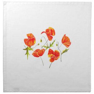 Golden Poppies design cloth napkins set of 4