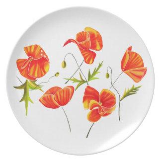 Golden Poppies design dinner/decorative plate