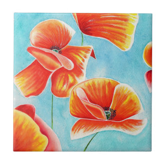 Golden Poppies in the Sky decorative tile