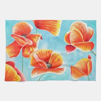 Golden Poppies in the Sky kitchen/hand towel