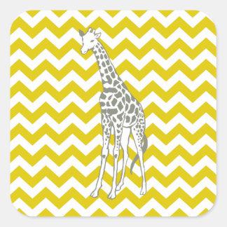 Golden Poppy Safari Chevron with Pop Art Giraffe Square Sticker