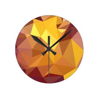 Golden Poppy Yellow Abstract Low Polygon Backgroun Clocks