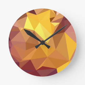 Golden Poppy Yellow Abstract Low Polygon Backgroun Round Clock