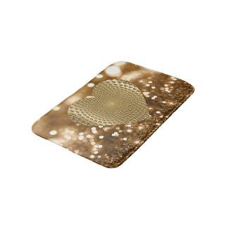 Golden Prismatic Heart Bokeh Faux Glitter Bath Mats