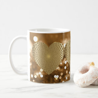 Golden Prismatic Heart Bokeh Faux Glitter Coffee Mug