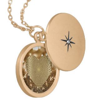 Golden Prismatic Heart Bokeh Faux Glitter Locket Necklace