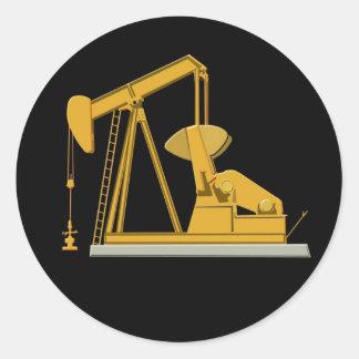 Golden Pumpjack Round Sticker