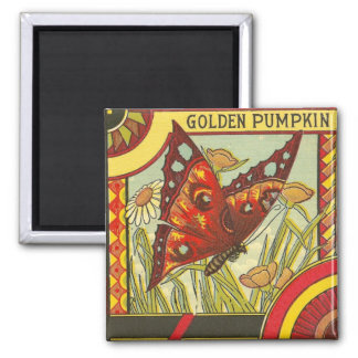 Golden Pumpkin Crate Label - Magnet