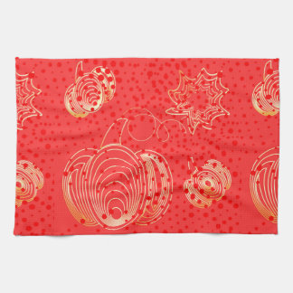 Golden pumpkin on pink background tea towel