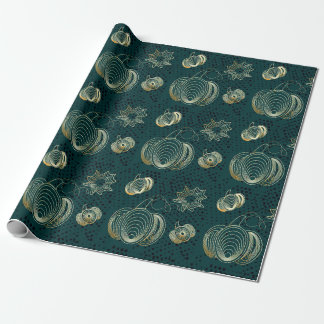 Golden pumpkin on turquoise grunge background wrapping paper