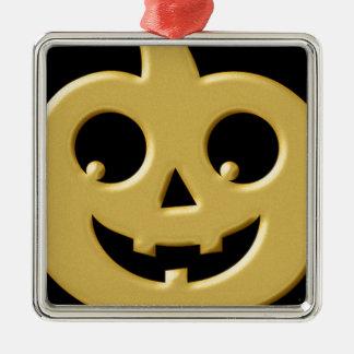 Golden Pumpkin Silver-Colored Square Decoration