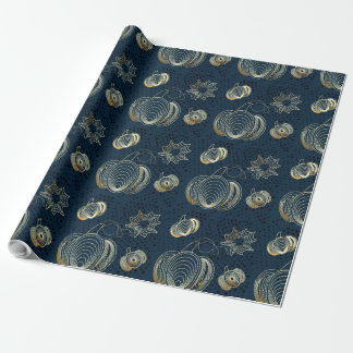 Golden pumpkins on grunge navy blue background wrapping paper