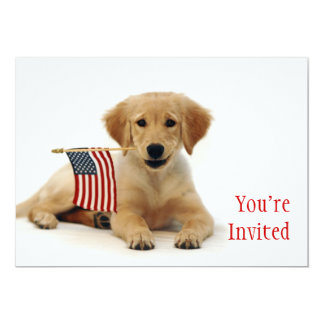 Golden Puppy and American Flag Card
