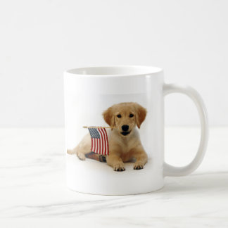 Golden Puppy and American Flag Coffee Mug