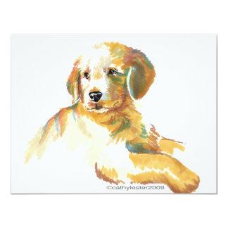 Golden Puppy - Darling 11 Cm X 14 Cm Invitation Card