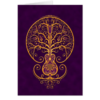 Golden Purple Guitar Tree of Life Greeting Cards