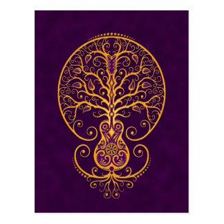 Golden Purple Guitar Tree of Life Postcards