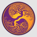 Golden Purple Tree of Life Yin Yang Round Stickers