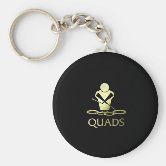 Golden Quads Basic Round Button Key Ring