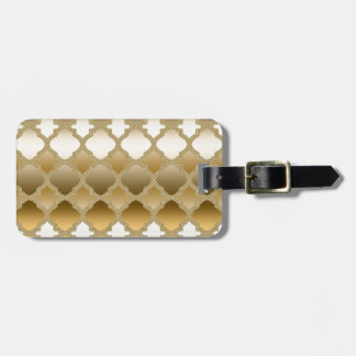 Golden Quatrefoil Moroccan Lattice Pattern Luggage Tag