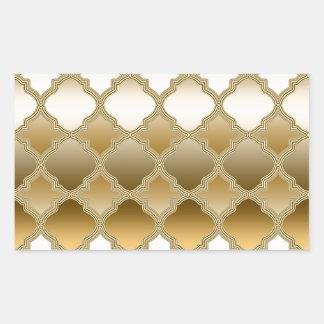 Golden Quatrefoil Moroccan Lattice Pattern Rectangular Sticker