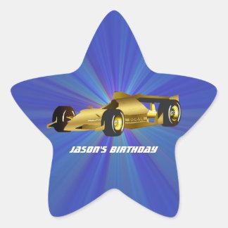 Golden Race Car Star Sticker