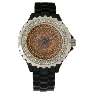 Golden Rainbow Mandala Pattern Watch