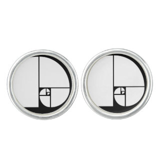 Golden Ratio, Fibonacci Spiral Art Cuff Links