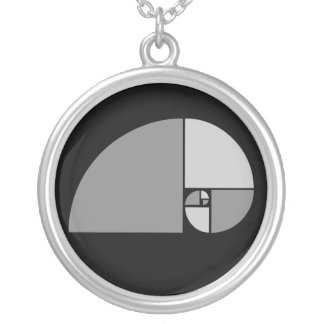 Golden Ratio, Fibonacci Spiral Round Pendant Necklace