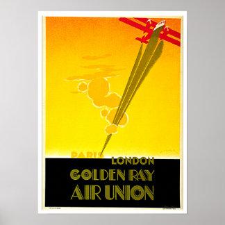Golden Ray Vintage Paris London Travel Ad Poster