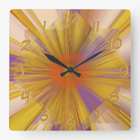 Golden Rays Square Wall Clock