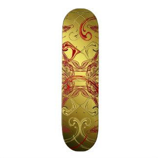 golden, red and black shiny festive 21.6 cm skateboard deck