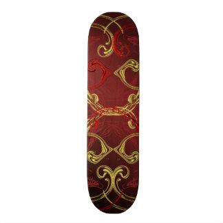 golden, red and black shiny festive colored skateboard decks