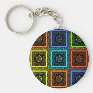Golden Red blue Green Masai Traditional colors Basic Round Button Keychain