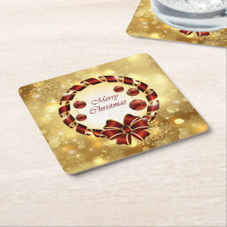 Golden & Red christmas Wreath with Bow & Snowflake Square Paper Coaster