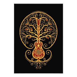 Golden Red Guitar Tree of Life on Black Invites