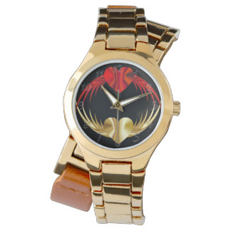 Golden red hearts watch