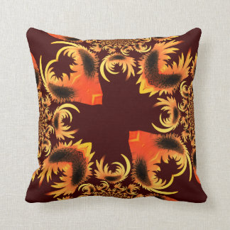 Golden Red Motif Shown on Maroon Cushion