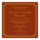 Golden red square frame corporate holiday formal custom announcement