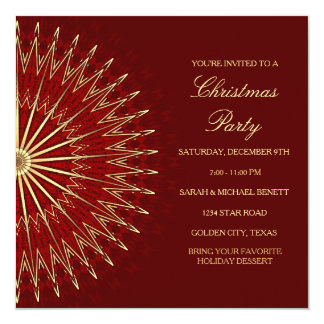 Golden Red Star Christmas Party Invitation Card