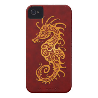 Golden Red Tribal Seahorse Case-Mate iPhone 4 Cases