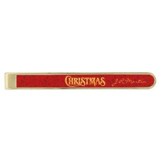 Golden Reindeer Christmas   Monogrammed Red Gold Finish Tie Clip
