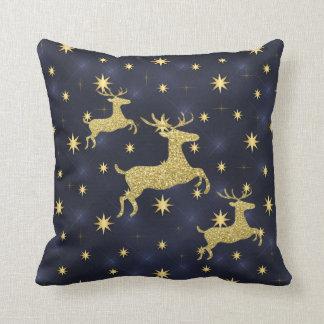 Golden Reindeer & Stars Midnight Blue Cushion